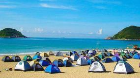 惠州双月湾十里长沙滩露营 烧烤 篝火晚会 看日出
